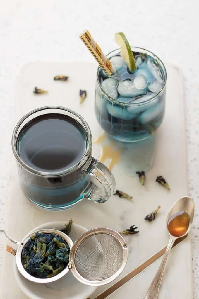 Butterfly Pea Flower Tea with Lime and Honey